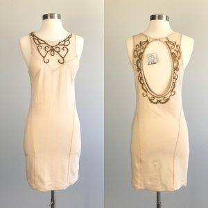 Free People NWT Dress Beaded Open Back Ivory Med